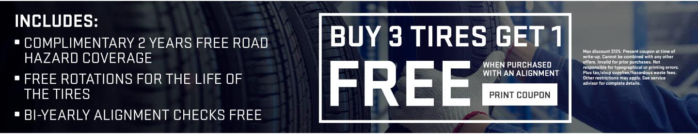 Buy 3 Tires get 1 Free print coupon