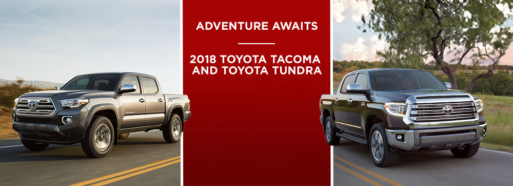 Exterior of the 2018 Toyota Tacoma and 2018 Toyota Tundra at Toyota of Rock Hill near Fort Mill, SC