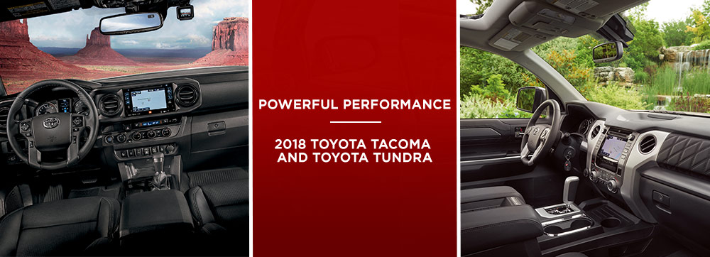 Safety features and interior of the 2018 Toyota Tacoma Vs 2018 Toyota Tundra - available at Toyota of Rock Hill near Fort Mill, SC and Charlotte, NC