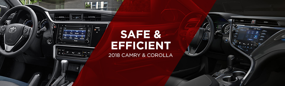 Safety features and interior of the 2018 Toyota Camry and the 2018 Toyota Corolla - available at World Toyota near Sandy Springs and Alpharetta, GA