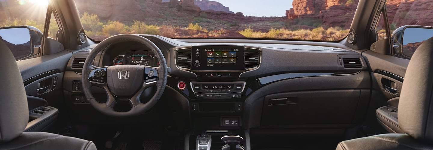 Drivers side perspective and steering wheel of the 2020 Honda Passport
