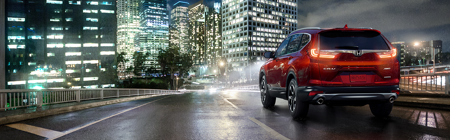 Red 2020 Honda CR-V overlooking the city