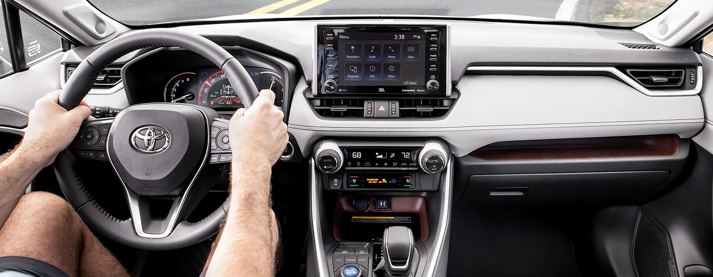 Interior and safety features of the 2019 Toyota RAV4 at our car dealership in Rock Hill, SC.