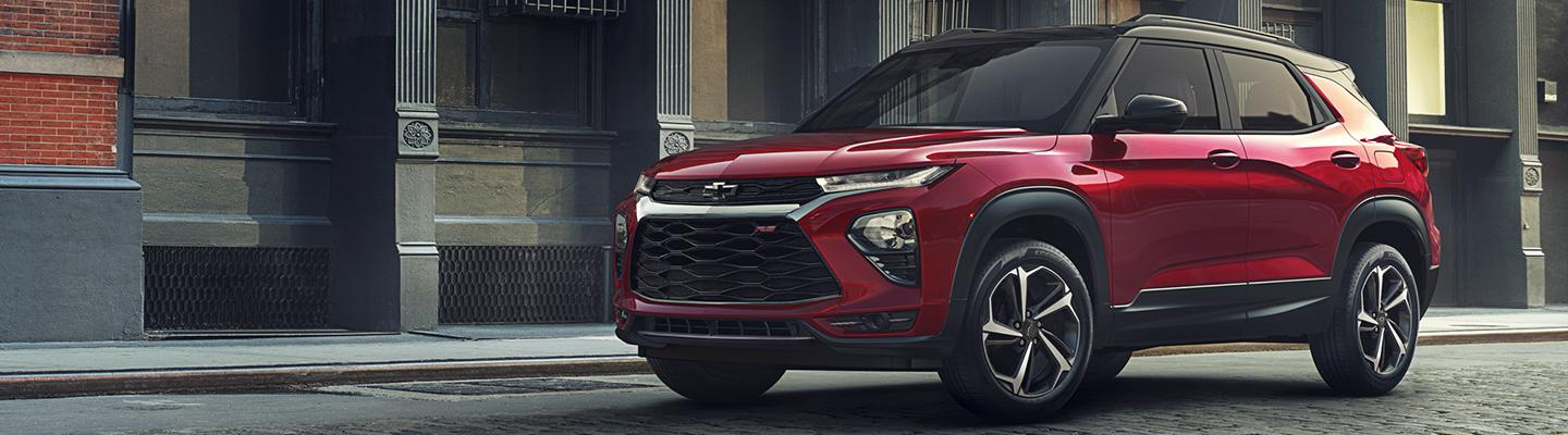 Red 2021 Chevy Trailblazer in motion.