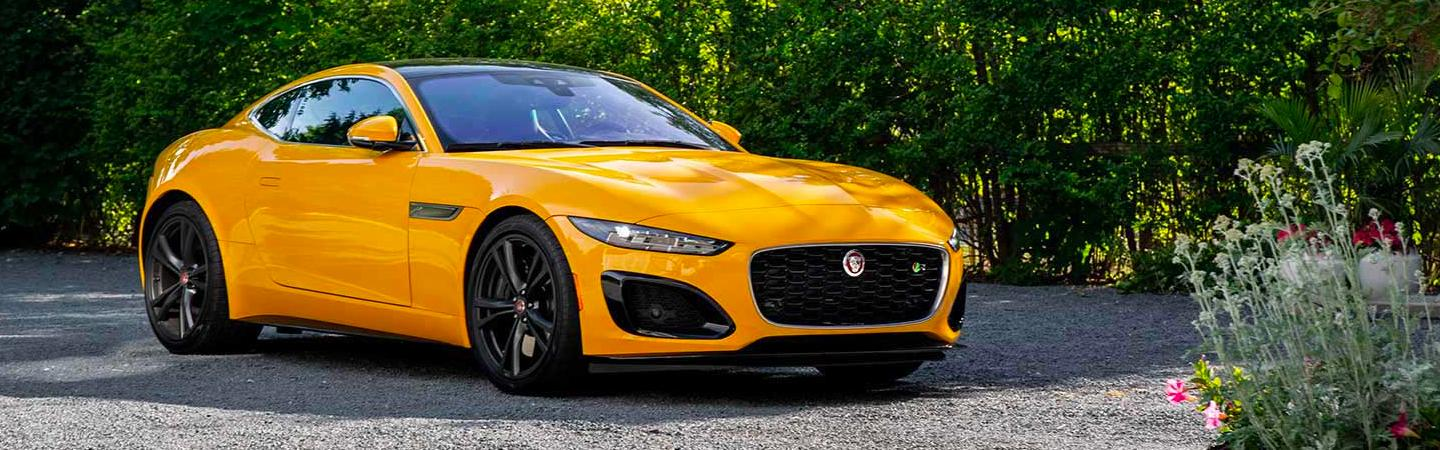 Yellow 2021 Jaguar F-Type parked