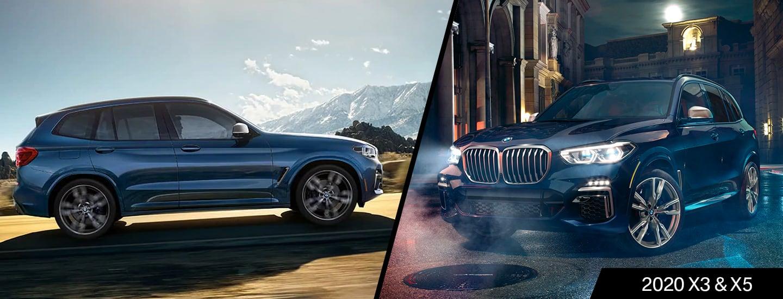 Split image of the 2020 BMW X3 and 2020 BMW X5