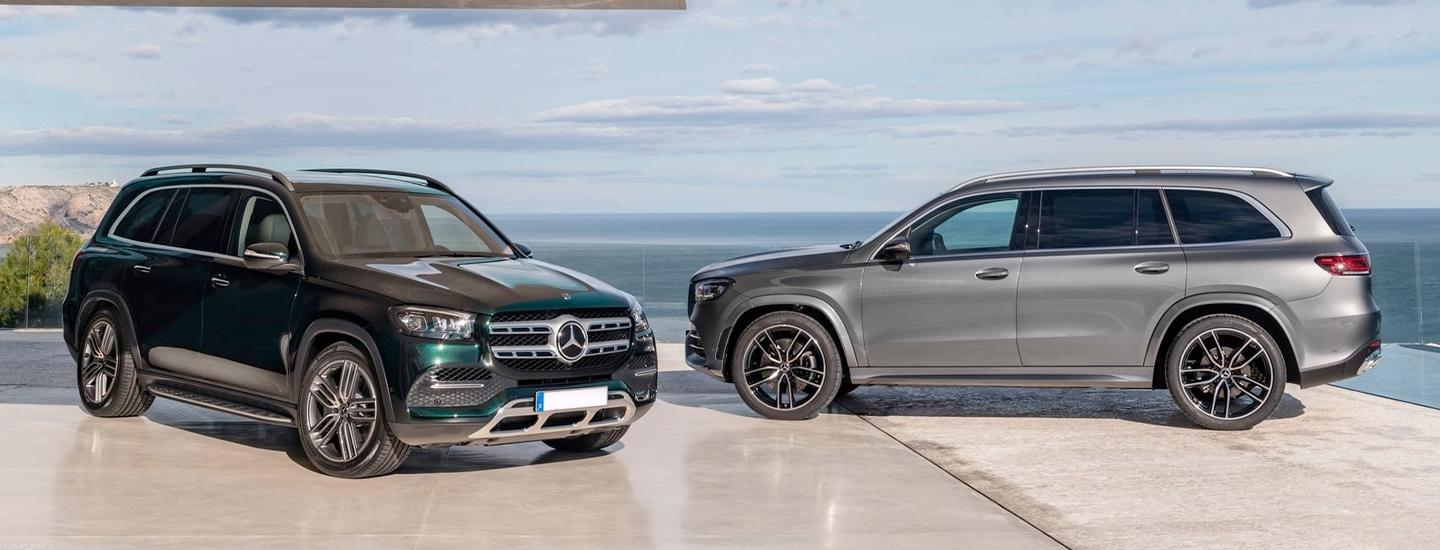 Two 2020 Mercedes-Benz GLS vehicles next to each other