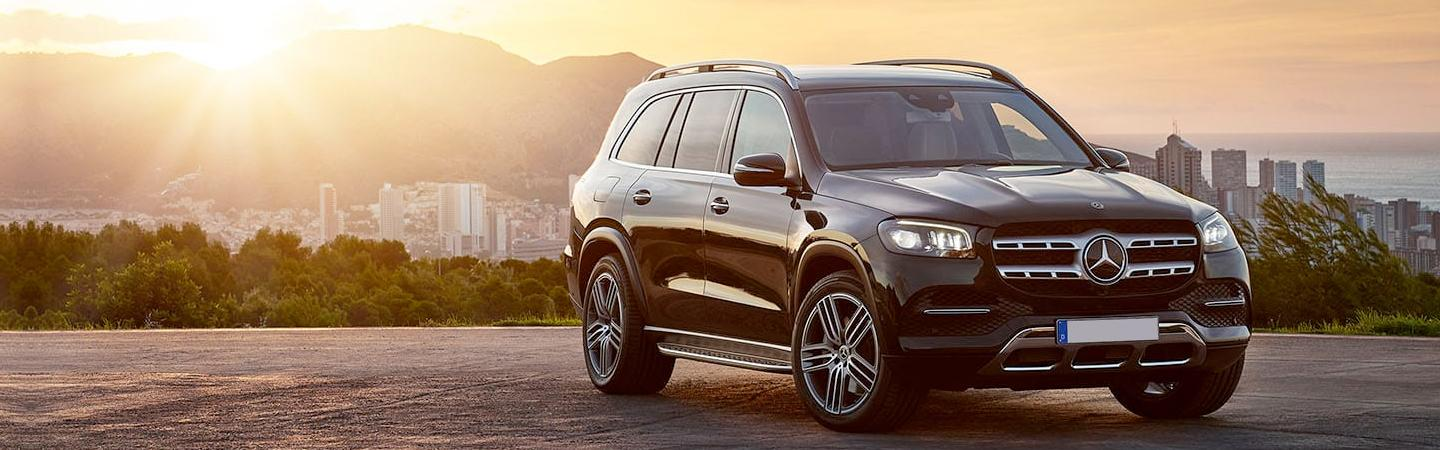 2020 Mercedes-Benz GLS parked with sunset in background