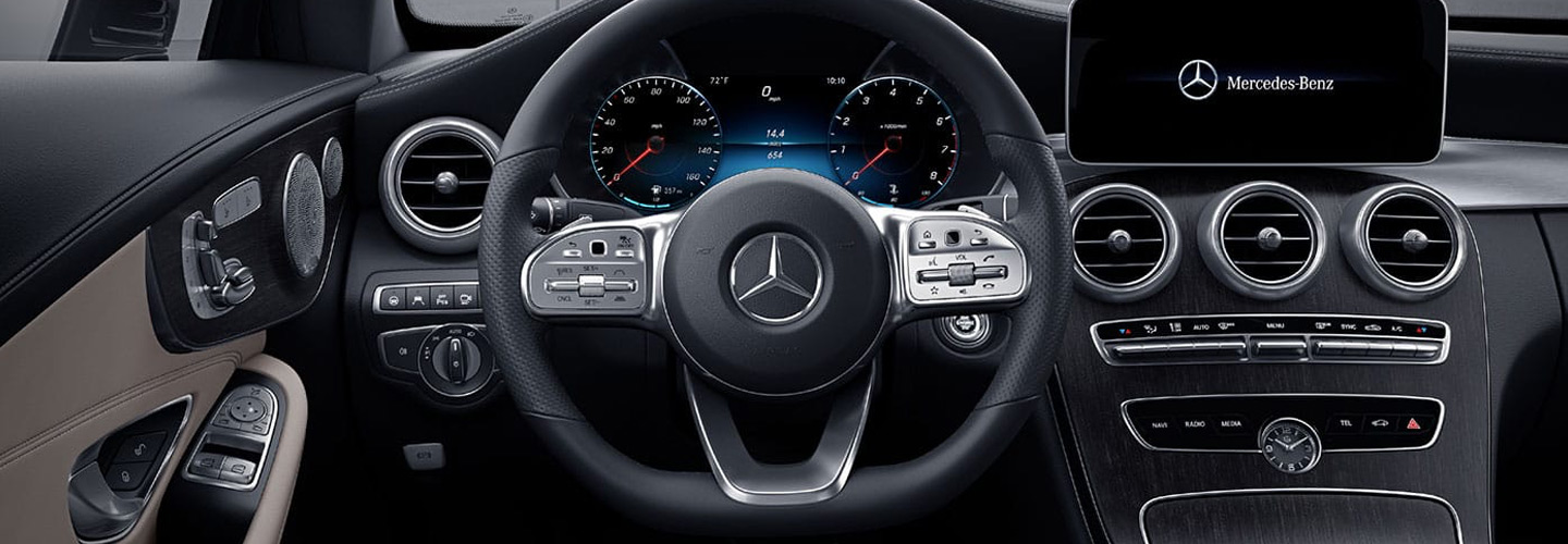 Safety features and interior of the 2019 Mercedes-Benz C-Class available at Mercedes-Benz of Augusta.