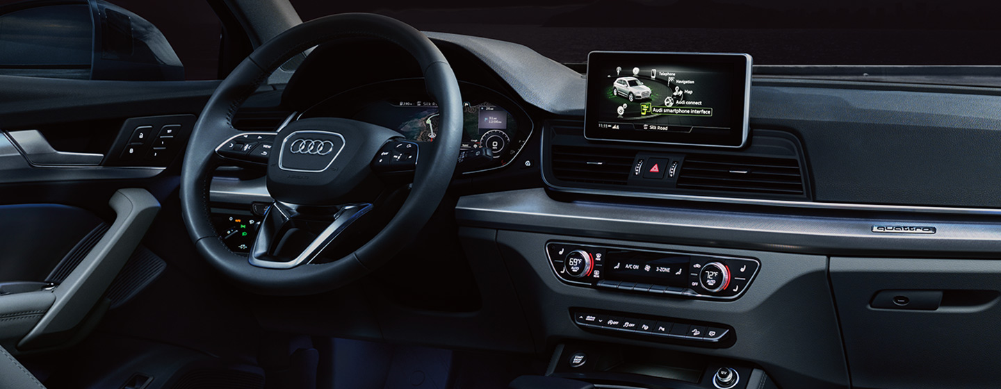Safety features and interior of the 2019 Audi Q5 - available at our Audi dealership near Oklahoma City, OK.