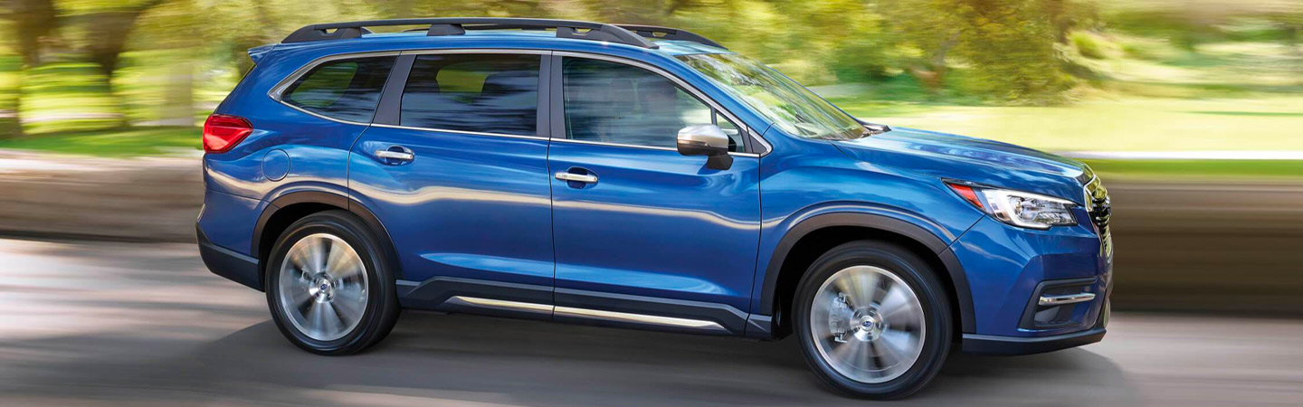 Blue Subaru Ascent in motion