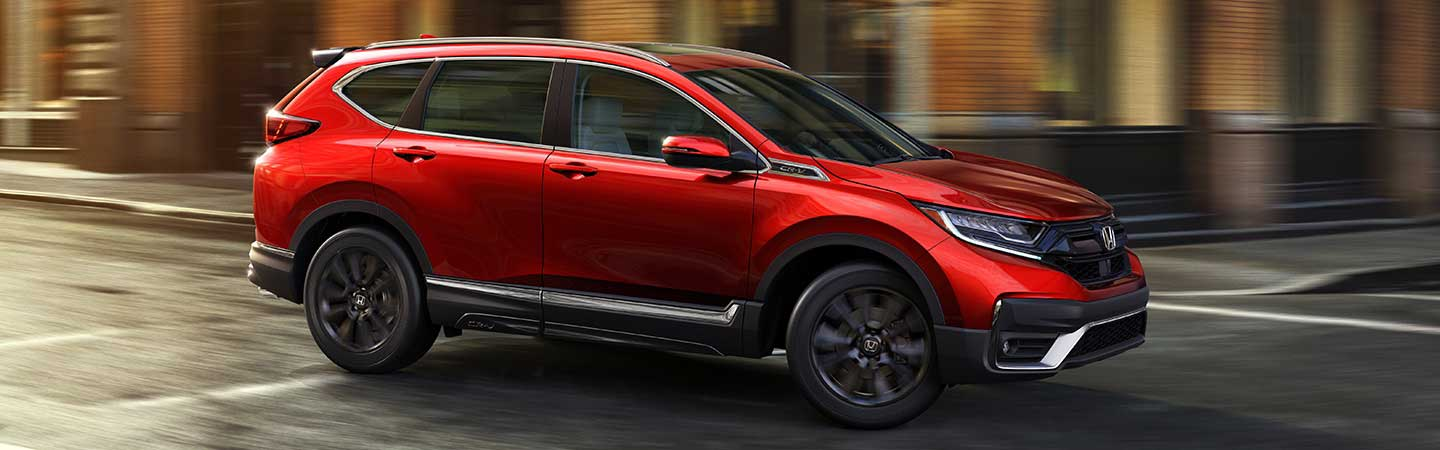Side view of a red 2020 Honda CR-V