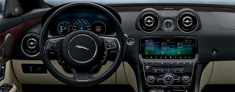 Safety features and interior of the 2019 Jaguar XJ - available at our Jaguar dealership in Honolulu.