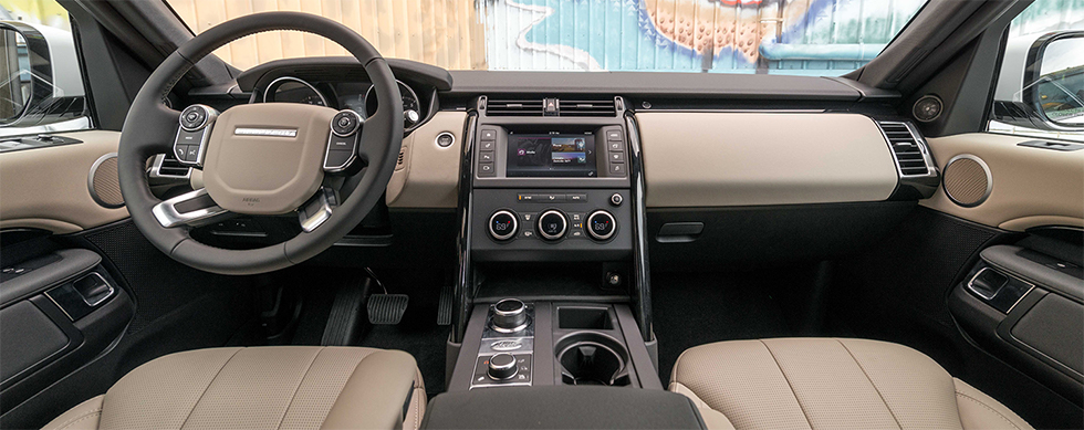Safety features and interior of the 2019 Land Rover Discovery - available at our Land Rover dealership near Honolulu, HI.