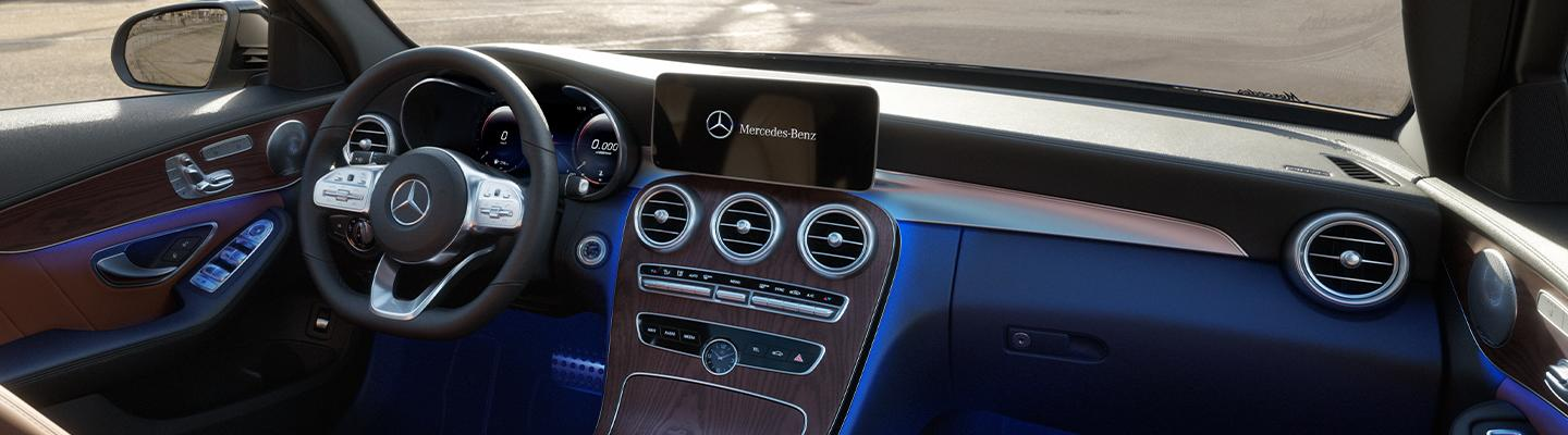 2021 Mercedes-Benz C-Class interior design with screen display and lights