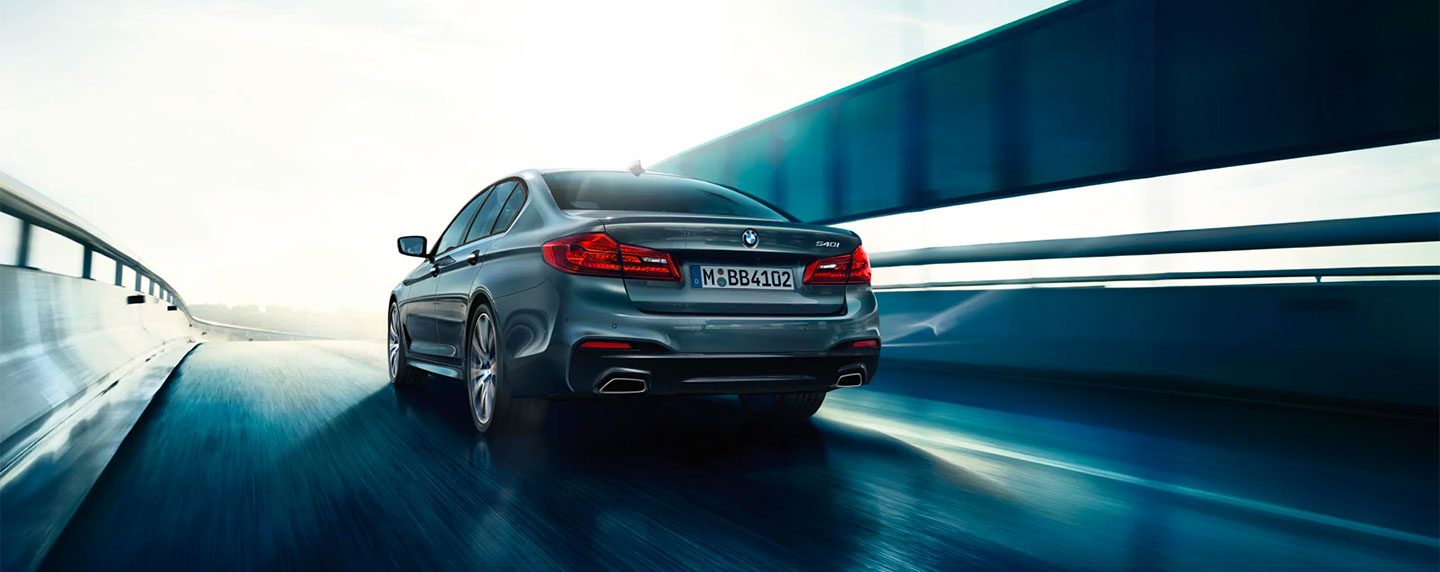 Rear of the BMW 5 series in motion