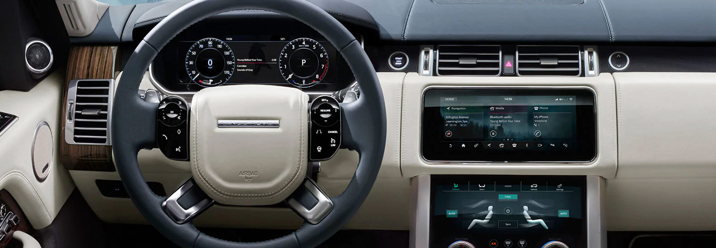 Safety features and interior of the Land Rover