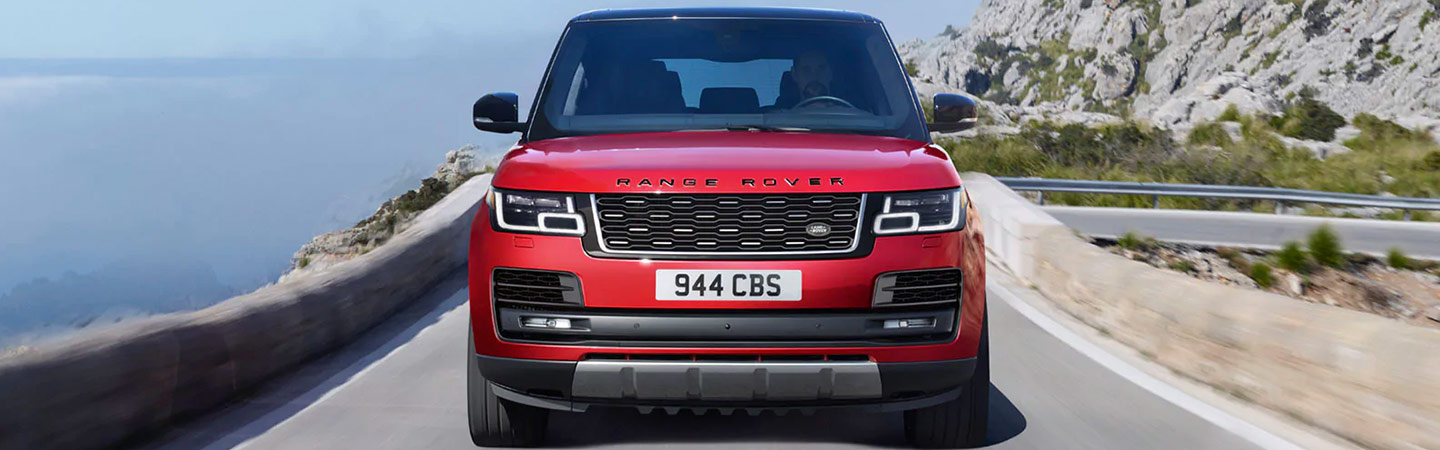 Front of red Range Rover