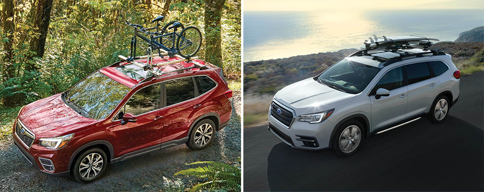 Exterior of the 2019 Subaru Forester and 2019 Subaru Ascent - available at our Subaru dealership near Columbus, GA.
