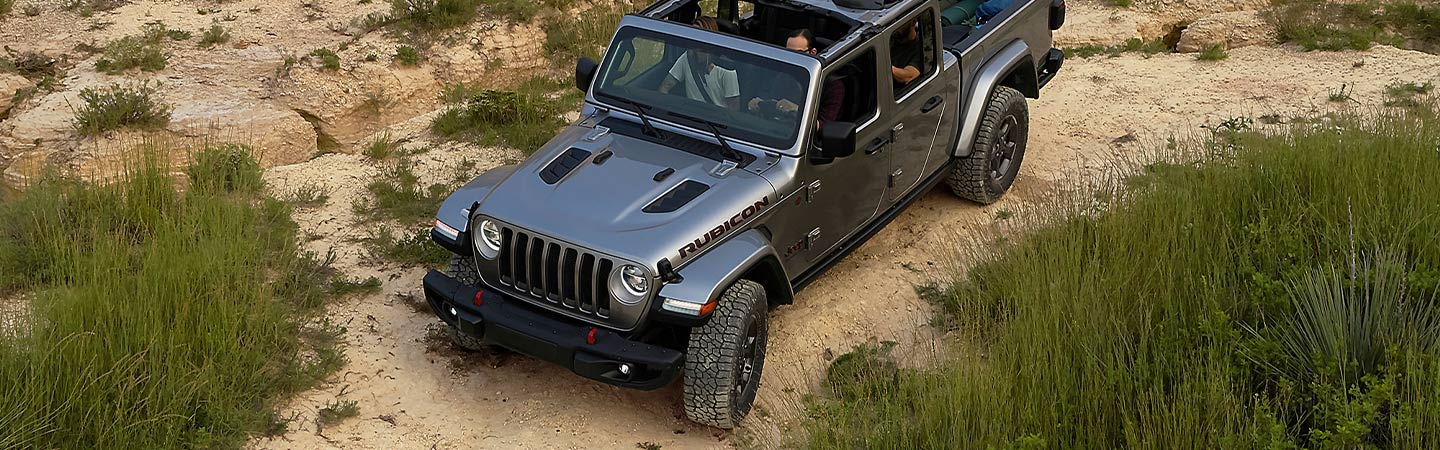 Gray Jeep Gladiator Rubicon aerial view