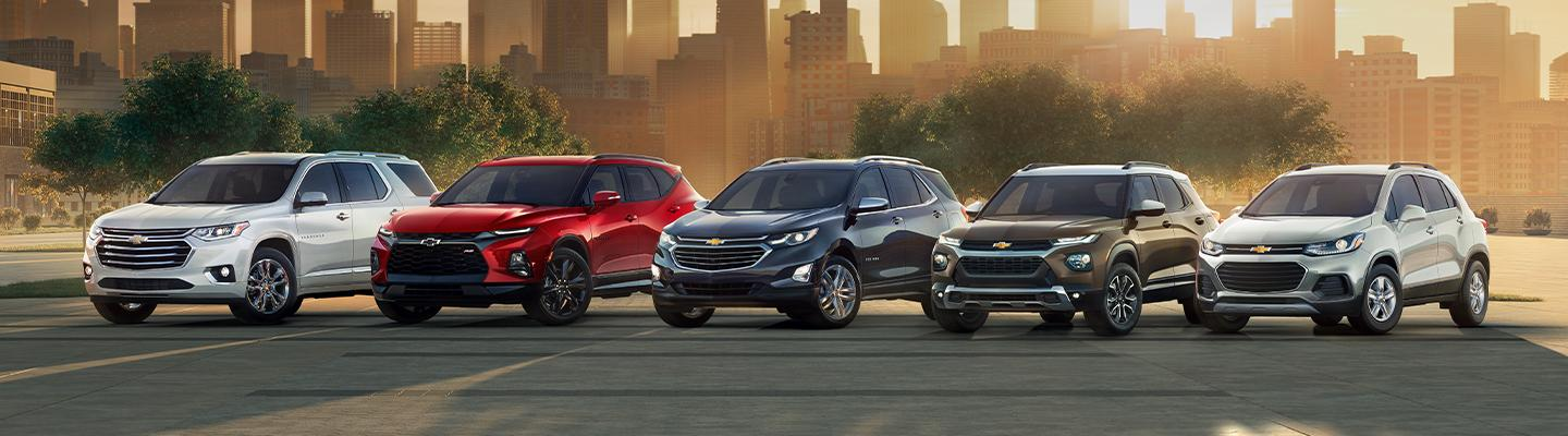 Line up of Chevy SUV's at Spitzer Chevy North Canton