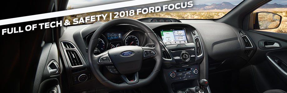 Safety features and interior of the 2018 Ford Focus - available at Ford of Port Richey near Trinity and Lutz, FL
