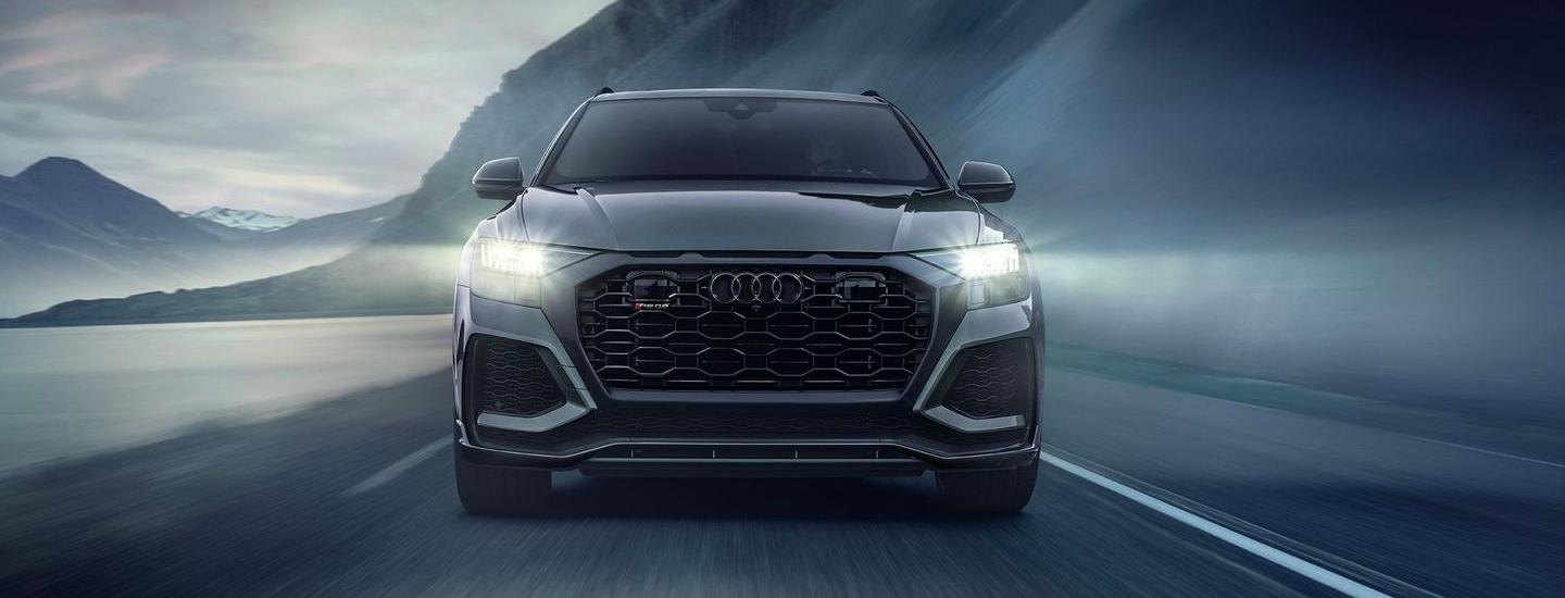 Close upfront view of the 2021 RS Q8 in motion