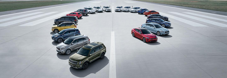 A full line up of 2020 Kia models.