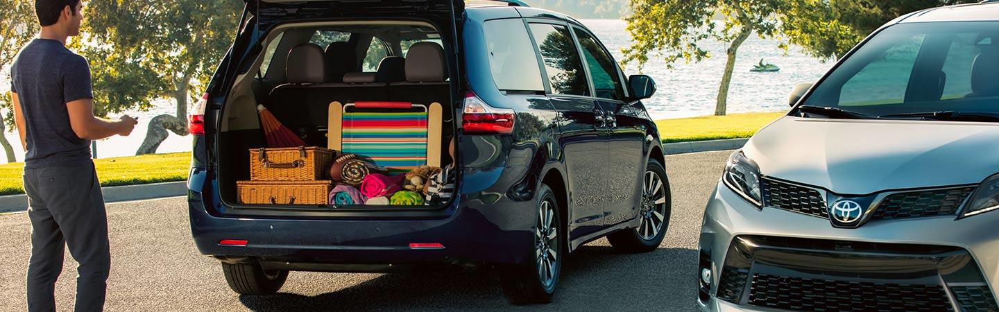 Rear hatch open on the new 2020 Toyota Sienna available at Spitzer Toyota Monroeville PA.