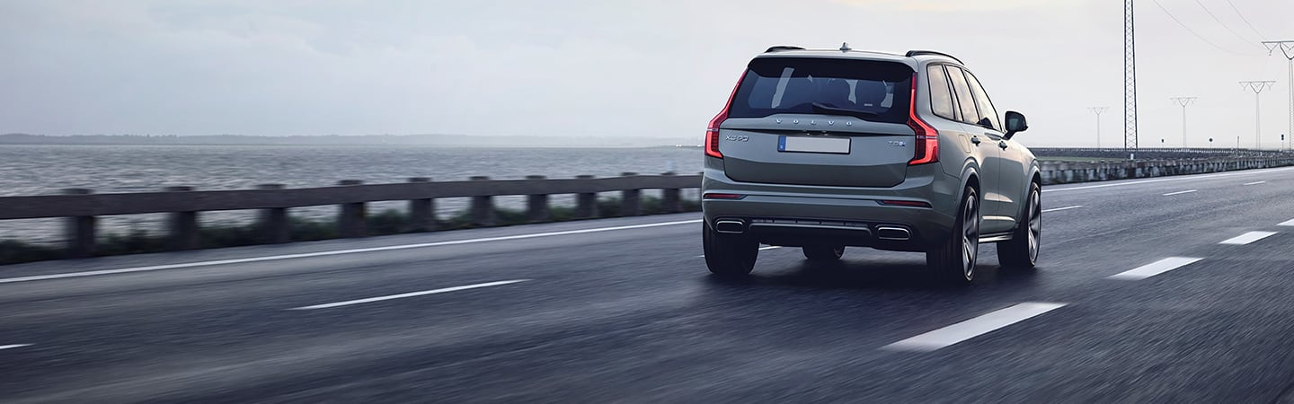 Rear view of the 2020 Volvo XC90 driving on the highway
