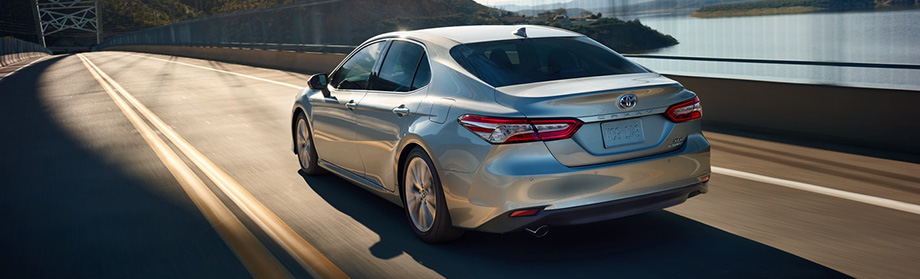 Safety features and exterior of the 2018 Toyota Camry at World Toyota dealership in Atlanta, GA