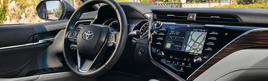Interior of the 2018 Toyota Camry available at World Toyota dealership in Atlanta, GA