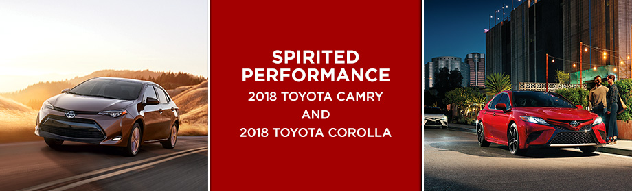 Exterior of the 2018 Toyota Camry and 2018 Toyota Corolla at Rivertown Toyota in Columbus,