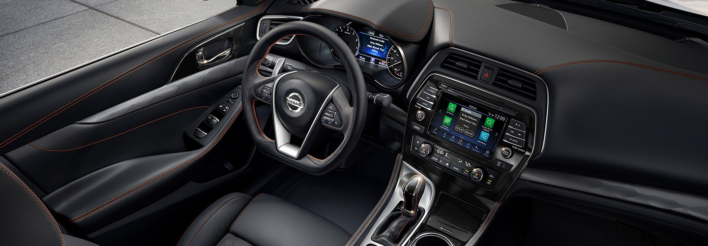 Safety features and interior of the 2019 Nissan Maxima  - available at our Nissan dealership near Oklahoma City, OK.