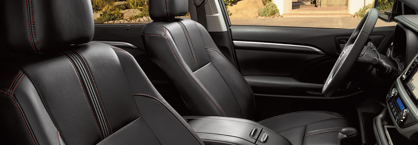 Interior and safety features of the 2019 Toyota Highlander available at our Columbus car dealership.