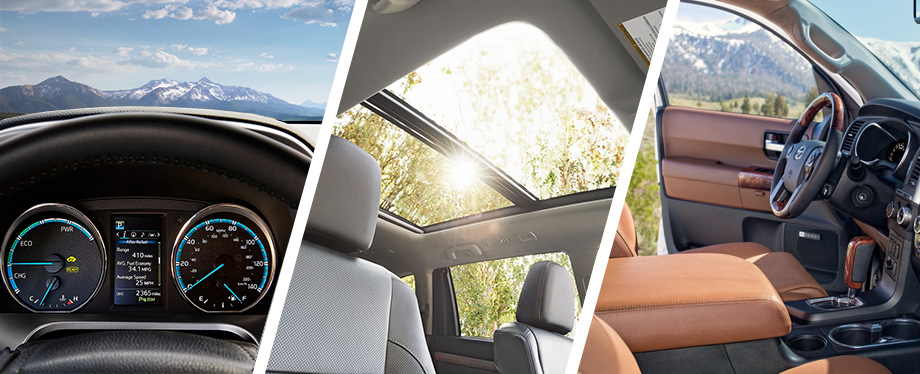 Safety features and interior of the 2018 Toyota RAV4, Toyota Highlander & Toyota Sequoia - available at Rivertown Toyota near LaGrange, GA and Auburn-Opelika, AL