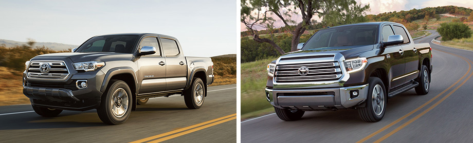 Exterior of the 2018 Toyota Tacoma and 2018 Toyota Tundra at Rivertown Toyota near LaGrange, GA