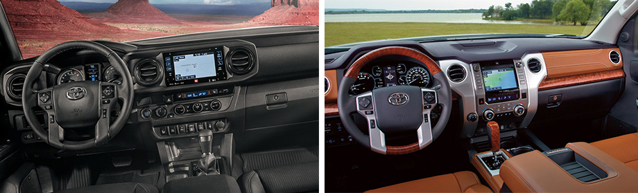 Safety features and interior of the 2018 Toyota Tundra and 2018 Toyota Tacoma - available at Rivertown Toyota near Auburn-Opelika, AL and Columbus, GA