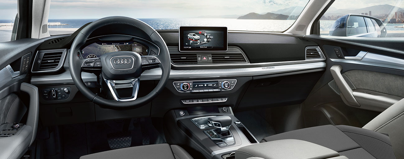 Safety features and interior of the 2018 Audi Q5 - available at our Audi dealership near Oklahoma City, OK.