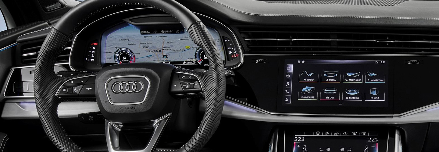 Audi steering wheel & dash view