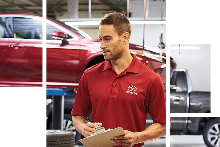 Close up of a service technician in a Toyota Service Center