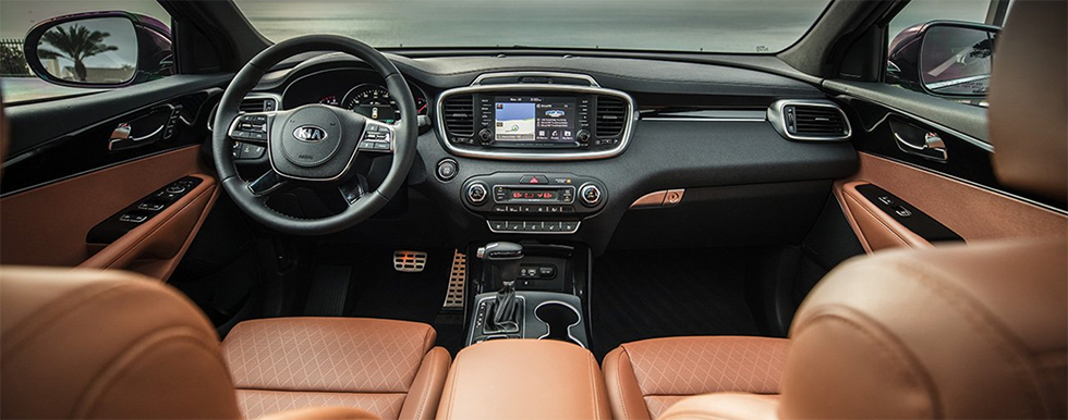 Safety features and interior of the 2019 Kia Sorento - available at our Kia dealership near Columbus, OH.