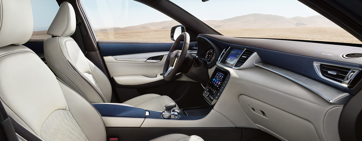 Safety features and interior of the 2019 INFINITI QX50 - available at our INFINITI dealership in Oklahoma City, OK.