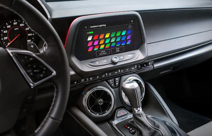 Close up view of the 2021 Chevrolet Camaro's infotainment system