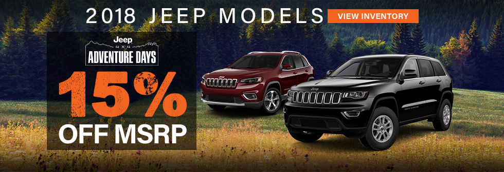 2018 Jeep Models 15% off msrp