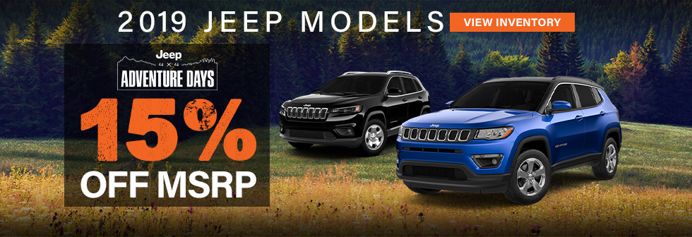 2019 Jeep Models 15% off msrp