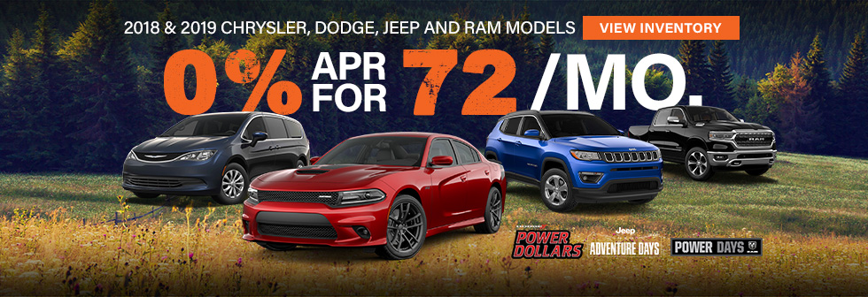 2018 and 2019 cdjr models 0% apr for 72 months