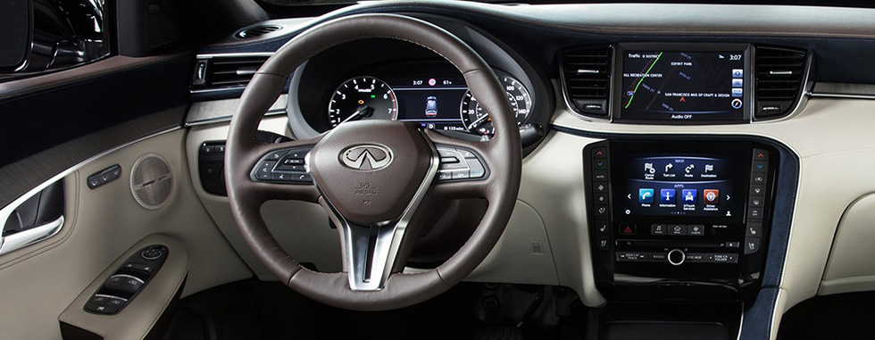 Interior of the 2019 INFINITI QX50 - available at our INFINITI dealership in Oklahoma City, OK.