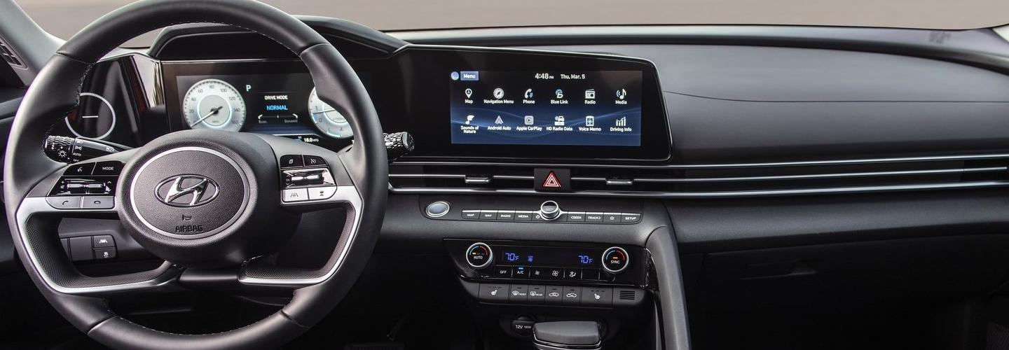 Interior steering wheel and infotainment system of the 2021 Hyundai Elantra