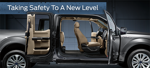 Safety features and interior of the 2017 F-150 - available at Zeigler Plainwell Ford near Kalamazoo and Grand Rapids, MI